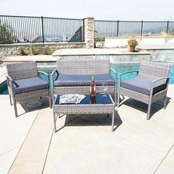 Patio Wicker Furniture Outdoor 4Pcs Rattan Sofa Garden Conversation Set, Gray for Sale in Austin,  TX