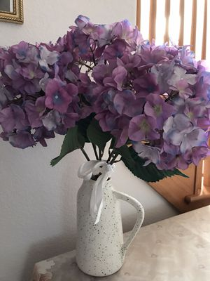 Pitcher vase with silk flowers for Sale in Broomfield, CO