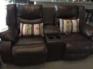 Recliner two seater with cup holder and storage for Sale in Chandler, AZ