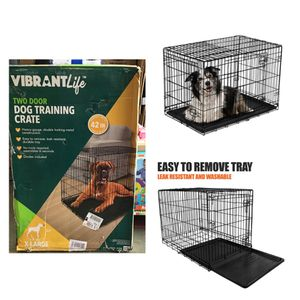 """Vibrant Life Double-Door Folding Dog Crate with Divider, Large, 42""""L for Sale in Stafford, TX"""