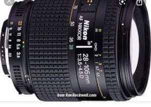NIKON ZOOM WIDE ANGLE-TELEPHOTO AF NIKKOR 28-105mm f/3.5-4.5D IF Autofocus Lens for Sale in Miami, FL