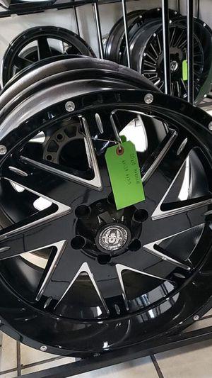 20x10 black hardcore rims 6 lug bolt pattern 6x139 6x5.5 on new mud tires 33 1250 20 for Sale in Phoenix, AZ