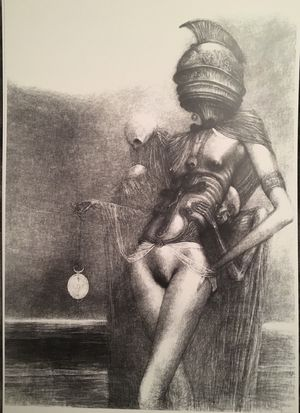 New Beksinski! Very Rare reproduction of this Famous Drawing by Polish Surrealist Master, created in 1973 in Poland with charcoal on paper for Sale in Seattle, WA