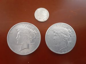 90% Silver Coin Lot! 2 1923 Peace Dollars and 1 1957 Dime UNCIRCULATED NICE! for Sale in Albuquerque, NM