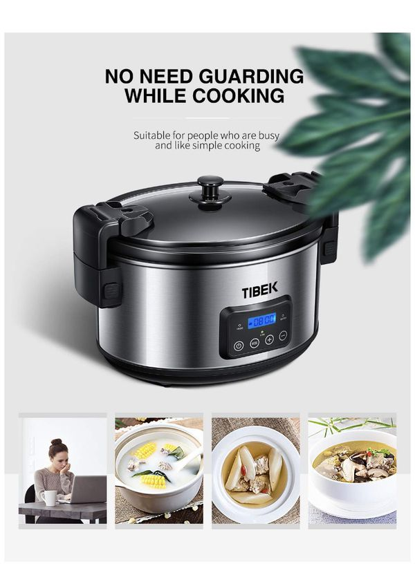 Slow Cooker, 8.5-Quart Programmable Slow Cooker with Digital Timer Up TO 20 Hours, Sealing and Locking Lid, Dishwasher Safe Non-Stick Stoneware Crock