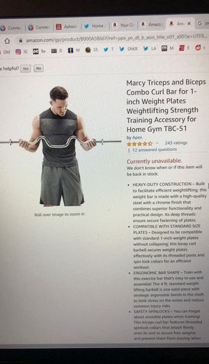 Marcy tricep and biceps curl for 1inch plates for Sale in Austin, TX