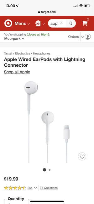 Apple Wired EarPods with Lightning Connector for Sale in Los Angeles, CA