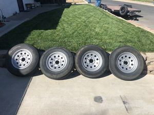 Set of 4 trailer tires and wheels. 5 lug. Only 2 years old. for Sale in Martinez, CA