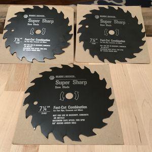 "3 - Black $ Decker ""Fast Cut"" 7 1/4"" Saw Blades- Brand New for Sale in FL, US"