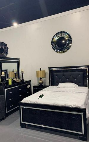 $39 Down Payment 《 Best OFFER》Allura Black LED Panel Bedroom Set 1969 for Sale in Columbia, MD