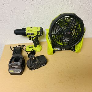 Ryobi Fan And Drill for Sale in Houston, TX