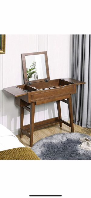 Vanity Table with Flip Top Mirror, Solid Wood Makeup Dressing Table Desk,6 Organizers for Different Sized Makeup Accessories, 1 Small Drawers for Lip for Sale in Eastvale, CA