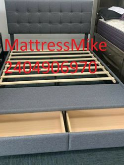 No Credit Needed New Box Gray Queen Size Platform Bed Frame Storage for Sale in College Park,  MD