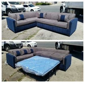 NEW 9X7FT CHARCOAL MICROFIBER SECTIONAL WITH SLEEPER COUCHES for Sale in Riverside, CA