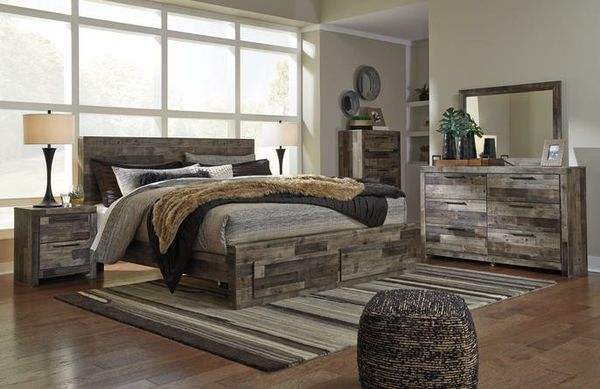 🍃good price🍃Derekson Gray Footboard Storage Platform Bedroom Set | B200 byAshley