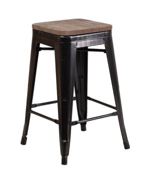 "24"" high backless metal counter height stool with square wood seat for Sale in Boston, MA"