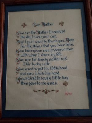 Our Mother cross stitch picture with frame for Sale in Damascus, MD