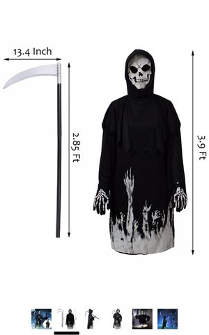 Halloween Kids Costumes, Cosplay Black Robe with Glow Pattern, Soul Taker Child Costume, Halloween Weapon Included for Sale in Powell, OH