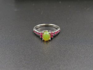 Size 6.75 Sterling Silver Ethiopian Opal & Ruby Gem Band Ring Vintage Statement Engagement Wedding Promise Anniversary Bridal Cocktail for Sale in Lynnwood, WA