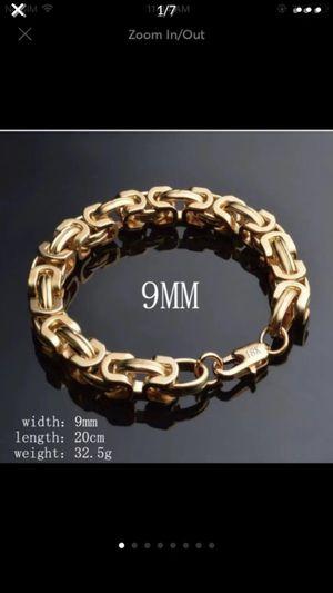 """Gold plated 18k stamped 8.5"""" bracelet unisex men for Sale in Silver Spring, MD"""