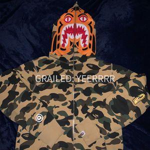 Bape Tiger Funthera Militia Yellow Shark Hoodie Hooded shirt sweatshirt a bathing ape nigo m medium for Sale in New York, NY