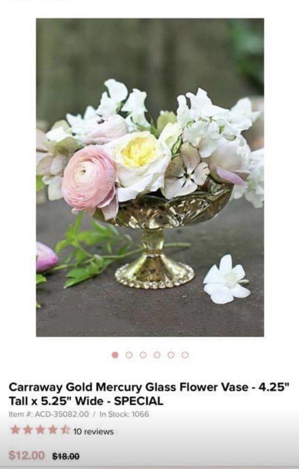 7- gold mercury flower vases