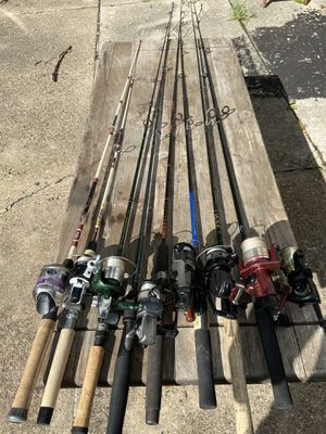 Various types of fresh water fishing rods, reels and lines combos. $35 each. for Sale in Philadelphia, PA