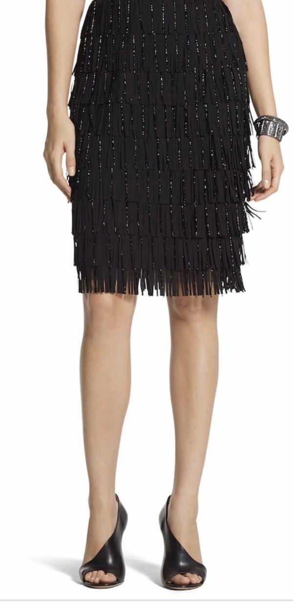 Chico's BLACK LABEL beaded fringe skirt, sz 10