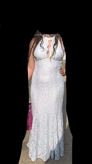 White blue formal prom homecoming long dress lace glitter for Sale in Denton, TX