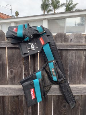 Makita Tool Belt Carpenter Heavy Duty W/ 2 Pouches Plus Hammer Holder for Sale in San Diego, CA