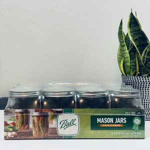 Ball 16oz Wide Mouth Pint Canning Mason Jars, Lids & Bands Clear Glass, 12 Pack for Sale in Cypress, CA