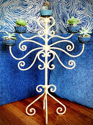 Succulents candelabra boho decor rustic decor home decor timeless conversation piece modern handmade hand wrapped tan indoor outdoor plant for Sale in Covina, CA