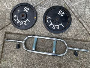 Tricep hammer curl Bar and Weights (50 lbs) for Sale in Snohomish, WA