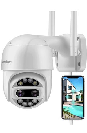 Security camera outdoor 2x2 MP ultra HD dual lens 360* view WiFi wireless camera with floodlights color night vision 2-way audio motion detection wat for Sale in La Verne, CA