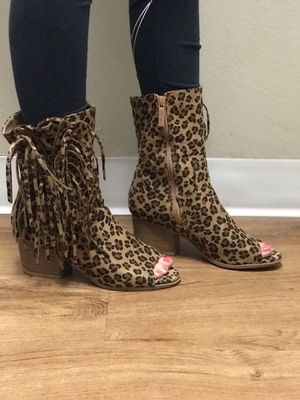 Leopard fringe boots for Sale in La Verne, CA