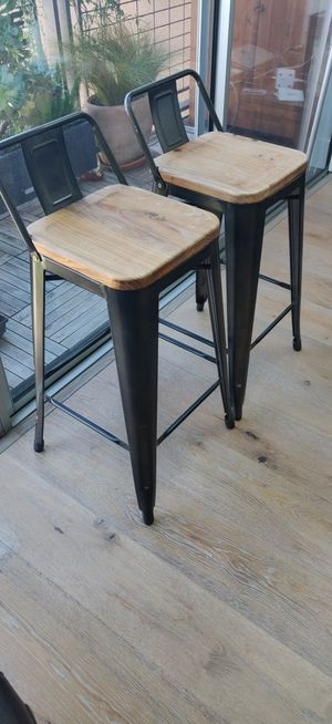 Metal and wood chairs / bar stool height . for Sale in San Francisco, CA