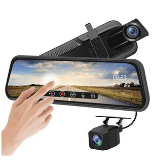 Backup Camera 9.6 inch Mirror Dash Cam Dual Lens Front Rear Dash Camera 1080P Full Touch Screen Video Streaming Rear View Mirror Loop Recording, Par for Sale in Norco, CA