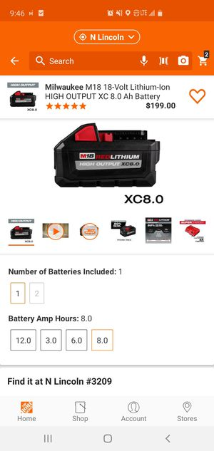 Milwakee m18 8.0 high output battery for Sale in Lincoln, NE