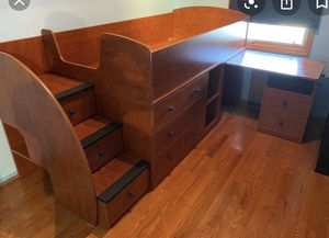 Lofted twin bed with desk for Sale in BRUSHY FORK, WV