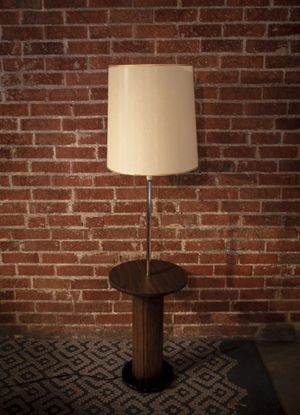 Handsome Mid Century Modern Wooden Floor Lamp with Built in Shelf and Metal Base for Sale in Denver, CO