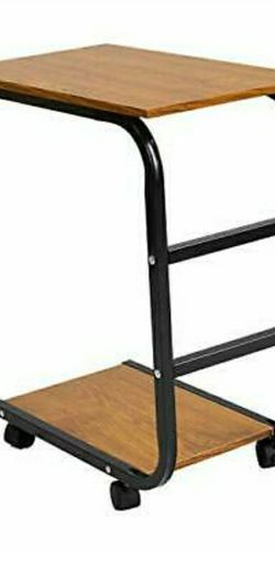 Movable Desk Side Table Tray Cart 4 Wheels Steel Legs Wood Desktop Office Home Desk Shelf Organizer Bookcase | Natural Wood Tone for Sale in Los Angeles,  CA