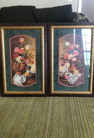 2 flower pictures with kids for Sale in Lorton, VA