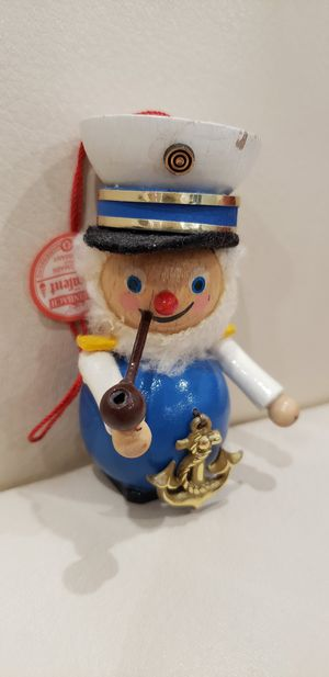 Steinbach german wood collectible christmas ornament. Boat / Ship Sailor with anchor on chest and pipe in mouth for Sale in Ontario, CA