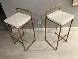 Gold / White square Bar Stools Chairs for Sale in Las Vegas, NV