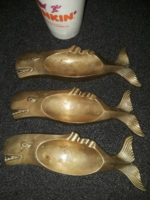 "8"" WHALE ASHTRAYS SOLID BRASS VINTAGE for Sale in Swansea, MA"