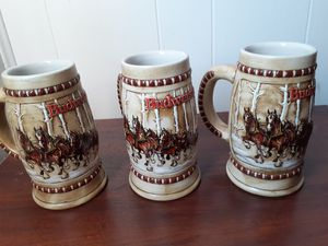 1981 LIMITED EDITION Budweiser Beer Steins (Set of 3) for Sale in Santa Fe Springs, CA