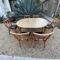 Vintage Rattan Bamboo Tiki Dining Table 4-6 Chairs With Leaf for Sale in Long Beach,  CA