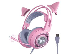 SOMIC G951pink Gaming Headset for PC, PS4, Laptop: 7.1 Virtual Surround Sound Detachable Cat Ear Headphones LED, USB, Lightweight for Sale in Rancho Cucamonga, CA