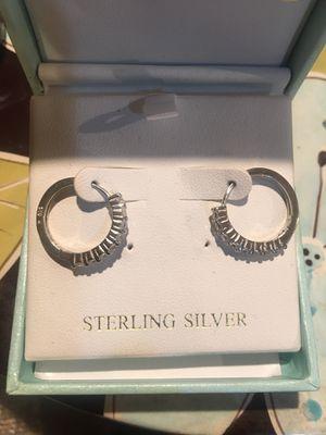 Sterling Silver Diamond Accents Hoop Earrings for Sale in Walnut, CA