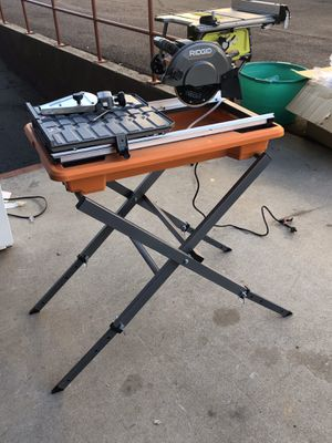 Semi new RIDGID 9 Amp Corded 7 in. Wet Tile Saw with Stand (Pick up only Martinez One Stop Shop 5022 N 54th Ave suite 1 Glendale AZ 85301) Tuesday -S for Sale in Glendale, AZ